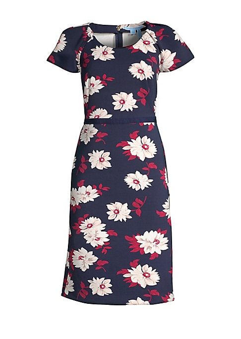 "Image of Feminine and flirty midi dress with bold floral print and pleated puff sleeves. Scoopneck. Short sleeves. Concealed back zip. Banded waist. Nylon/spandex. Machine wash. Imported. SIZE & FIT. About 41.5"" from shoulder to hem. Model shown is 5'10"" (177cm) w"