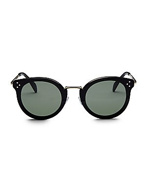 Image of Sophisticated metal round frames with subtle branding at temples. Case and cleaning cloth included Metal Made in Italy SIZE 48mm lens width 26mm bridge width 140mm temple length. Soft Accessorie - Sunglasses > Saks Fifth Avenue. CELINE. Color: Black.