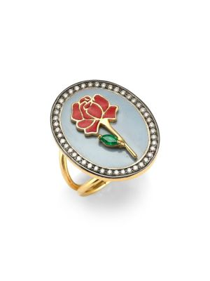 HOLLY DYMENT Red Rose 18K Gold, Emerald & Diamond Ring