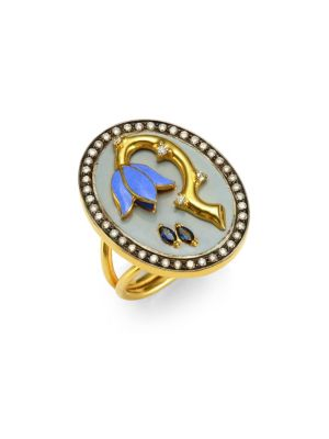 HOLLY DYMENT Sad Flower Sapphire, Diamond & 18K Yellow Gold Ring
