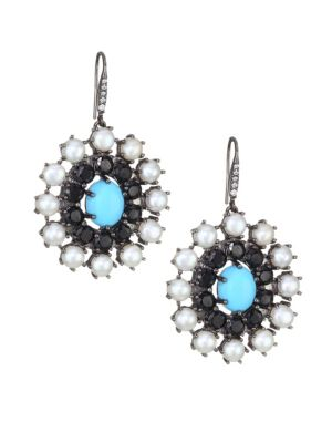 HOLLY DYMENT Turquoise, White Pearl & Diamond Disc Earrings in White Gold