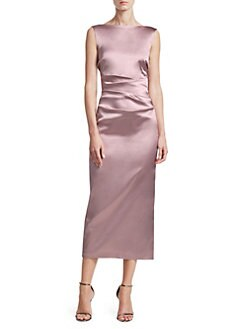 c580157b259b7 Talbot Runhof. Duchesse Stretch Satin Sheath Dress