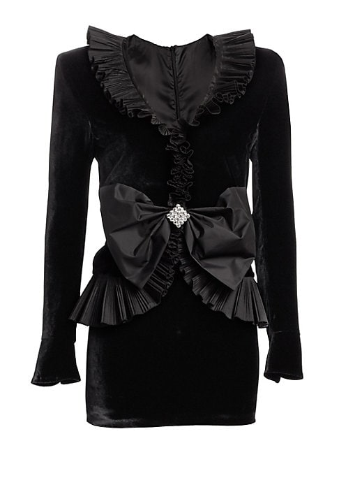 Image of Plush velvet highlights the dramatic pleat details of this statement structure dress. Designed with a jacket-like bodice, its playful yet elegant look is finished with a jeweled taffeta bow that cinches the waistline.V-neck. Long sleeves. Concealed back z