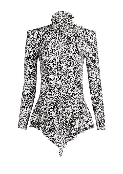 Image of This is a modern take on the skater dress, executed in a monochrome leopard print. Thanks to its mockneck and flounce hem, attention is drawn to the smallness of the wearer's waist. Mockneck collar. Long sleeves. Concealed back zip closure. Dropped waist.