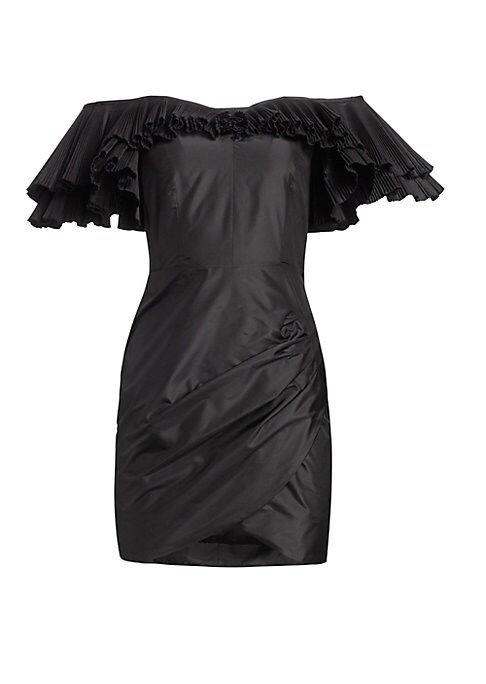 Image of This silk taffeta creation flaunts a tiered ruffled overlay at its provocative sweetheart neckline. Designed with a ruched faux wrap skirt, it lends an alluring asymmetry to this dress. Sweetheart. Tiered short pleated off-the-shoulder sleeves. Concealed