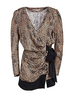 Image of Crafted from sultry silk, this leopard print wrap dress is finished with a contrasting bow finish. Dainty puff sleeves give the mini silhouette an elegant feel. V-neck Long puff sleeves Wrapped tie front close Banded hem Silk Dry clean Made in Italy SIZE