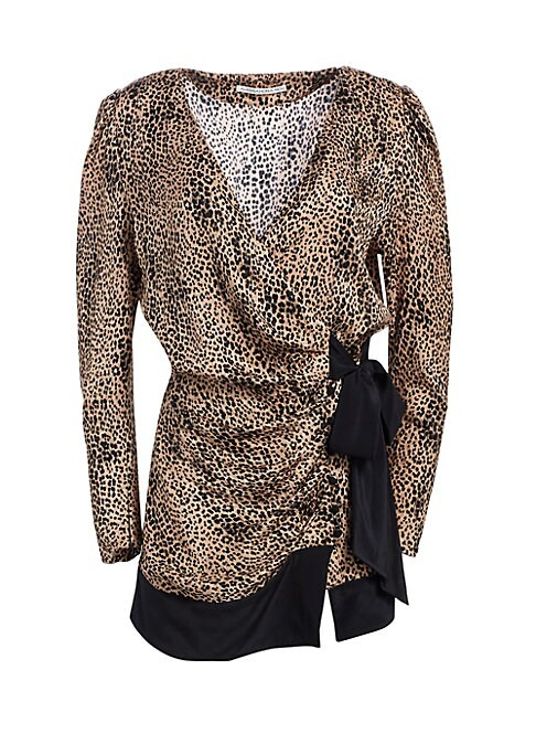 Image of Crafted from sultry silk, this leopard print wrap dress is finished with a contrasting bow finish. Dainty puff sleeves give the mini silhouette an elegant feel.V-neck. Long puff sleeves. Wrapped tie front close. Banded hem. Silk. Dry clean. Made in Italy.
