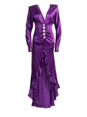 ALESSANDRA RICH Silk Ruffled High-Low Gown in Purple