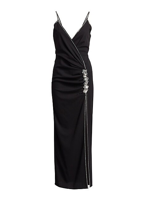 Image of Shimmering jeweled trim highlights a chic wrap dress perfect for an evening party. Made from luxe stretch-wool, its figure-flattering silhouette is accented by a daring side slit, while V-back detail adds a dose of sexy elegance. Surplice neck. Sleeveless