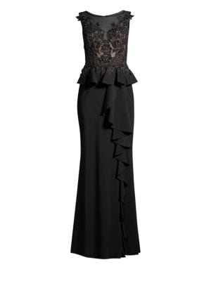 Sleeveless Floral Lace Peplum Gown by Basix Black Label