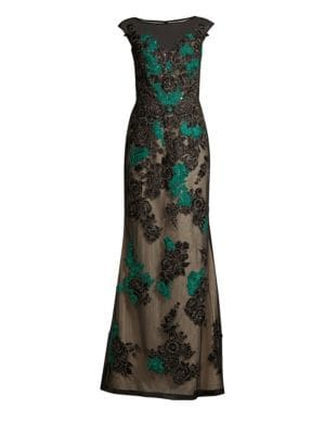 Basix Black Label Floral Sleeveless Tulle A Line Gown