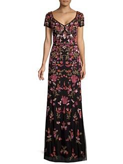 2271a64111 Basix Black Label. Embellished Floral Tulle Gown