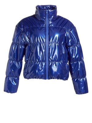 Scripted Faux Patent Leather Puffer Jacket