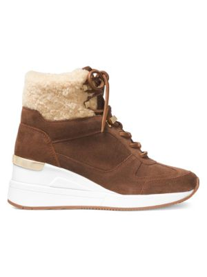 Liv Shearling Trim Suede Wedge Booties by Michael Michael Kors
