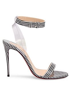 4ea885b51e3ea QUICK VIEW. Christian Louboutin. Jonatina 100 Stripe Leather Slingback  Sandals