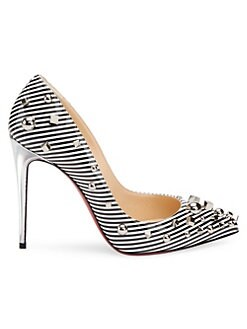 43bad241ddde63 QUICK VIEW. Christian Louboutin. Aimanta 100 Stripe Patent Leather Point  Toe Pumps