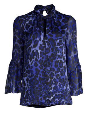 ELIE TAHARI Laraib Keyhole Long-Sleeve Leopard-Print Silk Blouse in Blue