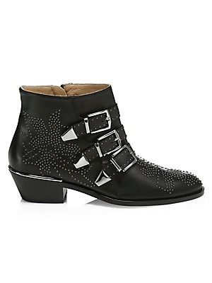 Susanna Hardware Leather Ankle Boots by Chloé