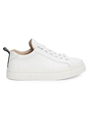 Image of A classic athletic-style in smooth leather. Leather upper Lace-up style Leather lining Rubber sole Made in Spain. Women's Shoes - Chloe Womens Shoes. Chloé. Color: White. Size: 35 (5).