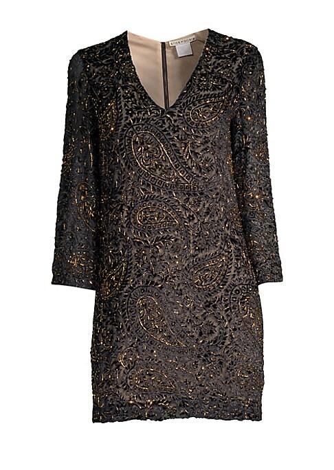 """Image of Beaded paisley embellishments adorn this simple shift dress.V-neck. Three-quarter length sleeves. Concealed back zip close. Embellished finish. Stretch lining. Viscose. Dry clean. Imported. SIZE & FIT. Shift silhouette. About 35"""" from shoulder to hem. Mod"""