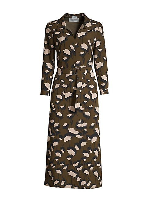 "Image of Abstract floral printed midi with a sleek belted finish. Spread collar. Three-quarter length sleeves. Pullover style. Belted waist. Button cuffs. Lined. Polyester. Hand wash. Imported. SIZE & FIT. Sheath silhouette. About 49"" from shoulder to hem. Model s"