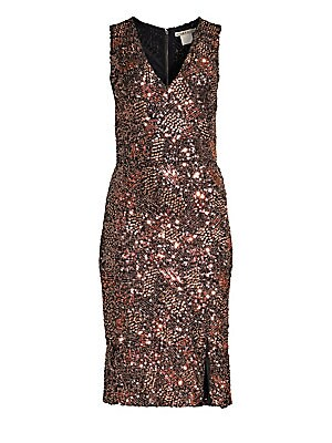 """Image of Allover sequins lend this sheath dress a party-ready brilliance. V-neck Sleeveless Exposed back zip Lined Nylon/elastane Dry clean Imported SIZE & FIT About 42"""" from shoulder to hem Model shown is 5'10"""" (177cm) wearing US size 4. Contemporary Sp - Alice +"""