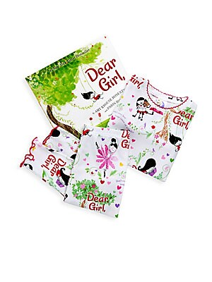 Image of Dear Girl, This book is for you. Wonderful, smart, beautiful you. If you ever need a reminder, just turn to any page in this book and know that you are special and you are loved. This vibrant pajama set flaunts illustrations that embody the accompanying s