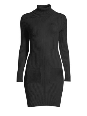 Ribbed Wool-Blend Sweater Dress in Black