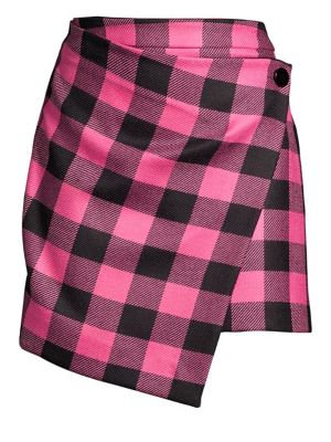 Buffalo Check Mini Skirt in Pink