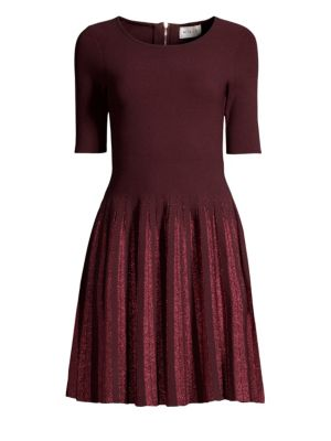 Scoop-Neck Elbow-Sleeve Fit-And-Flare Metallic Pleated Dress in Red