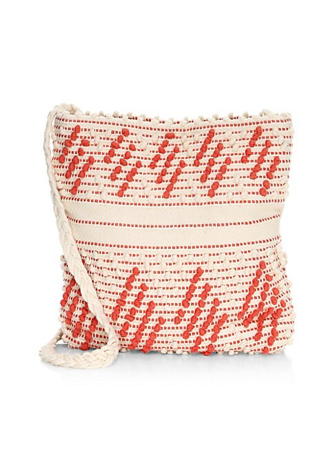 Image of Bohemian-inspired shoulder bag with textured trim in a hand-woven cotton construction. Open top with magnetic closure. One interior compartment. Interior slip pocket. Woven cotton lining. Hand-woven cotton. Dry clean. Made in Italy. SIZE. Shoulder strap,