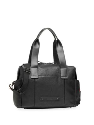 STORKSAK Kym Leather Diaper Bag in Black