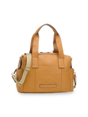 STORKSAK Kym Leather Satchel in Tan
