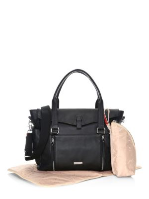 STORKSAK Emma Leather Diaper Bag in Black