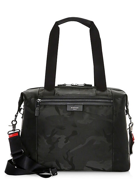 Image of A tonal camo print adds coolgirl edge to this stylish diaper bag with multiple storage pockets. Dual top handles. Removable, adjustable shoulder strap. Dual top handles. Two-way top zip closure. One exterior pockets. Five interior pockets. Includes zipped