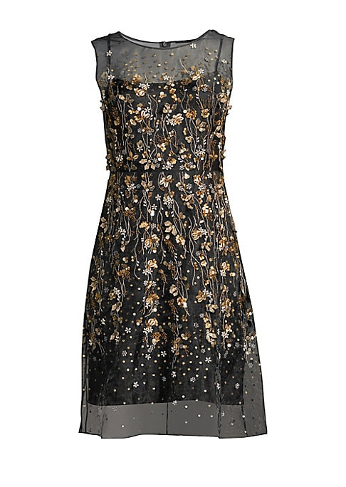 """Image of Pretty silk organza party dress featuring sheer embellished overlay with floral beading. Roundneck. Sleeveless. Concealed back zip. Lined. Silk. Dry clean. Imported. SIZE & FIT. About 37"""" from shoulder to hem. Model shown is 5'10"""" (177cm) and wearing US s"""