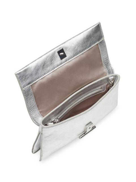 Loeffler Randall Tab Metallic Leather Clutch   SaksFifthAvenue