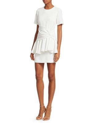Fontaine Crewneck Flounce Mini Dress in Ivory