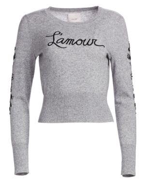 CINQ À SEPT Kian L'Amour Embellished Wool-Blend Knit Sweater