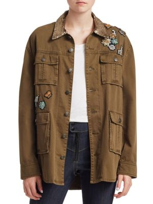 Canyon Sequin Patch Jacket, Olive