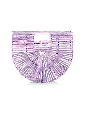 """Image of Artisanal acrylic design makes this bag a structural semicircle piece. Top clasp closure Includes dust bag Acrylic Imported SIZE Double top handles, 1.75"""" drop 9""""W x 8.75""""H x 2.5""""D. Handbags - Contemporary Handbags. Cult Gaia. Color: Lavender."""
