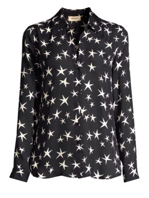 Nina Star-Print Silk Blouse - Black Size S in Black/Ivory from L'AGENCE