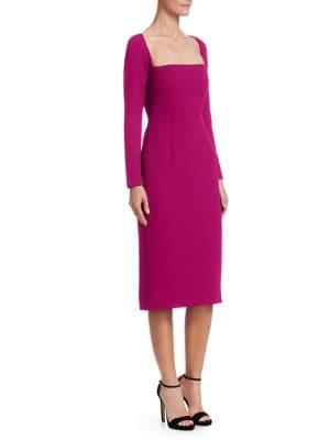 Lela Rose Wool Crepe Fitted Sheath Dress