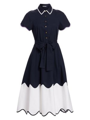 Wave-Print Short-Sleeve Collared Cotton Midi Shirtdress in Blue/White