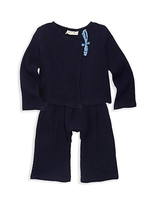 Baby Boys  Little Boys TwoPiece Cotton Kimono  Pants Set