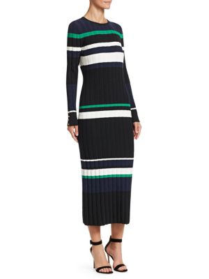 Long Sleeve Striped Knit Dress by Lela Rose