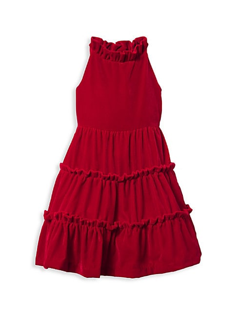 Image of Standout velvet dress with ruffled tiered skirt. Ruffled halterneck. Sleeveless. Button back. Seamed empire waist. Tiered A-line skirt. Polyester. Machine wash. Imported.