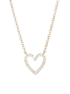 EF COLLECTION 14K Rose Gold & Diamond Heart Necklace