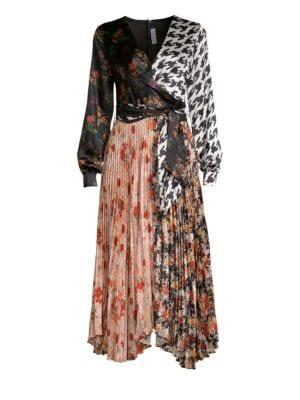 DELFI COLLECTIVE Camille Silk Multi Print Wrap Dress