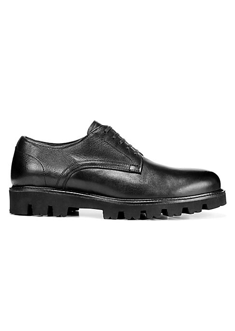 Image of Crafted out of leather, these derbies boast a lug sole for a modern silhouette. Leather upper. Round toe. Lace-up vamp. Leather lining. Rubber sole. Made in Italy.